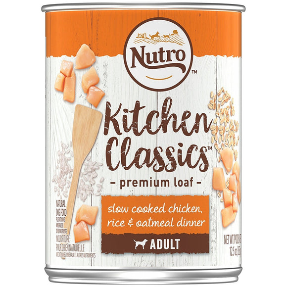 Nutro Adult Kitchen Classics Slow Cooked Chicken, Rice & Oatmeal Dinner Premium Loaf Canned Dog Food