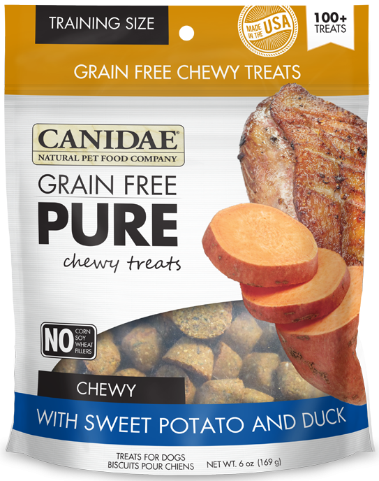 Canidae Grain Free PURE Chewy Training Treats with Sweet Potato and Duck Dog Treats
