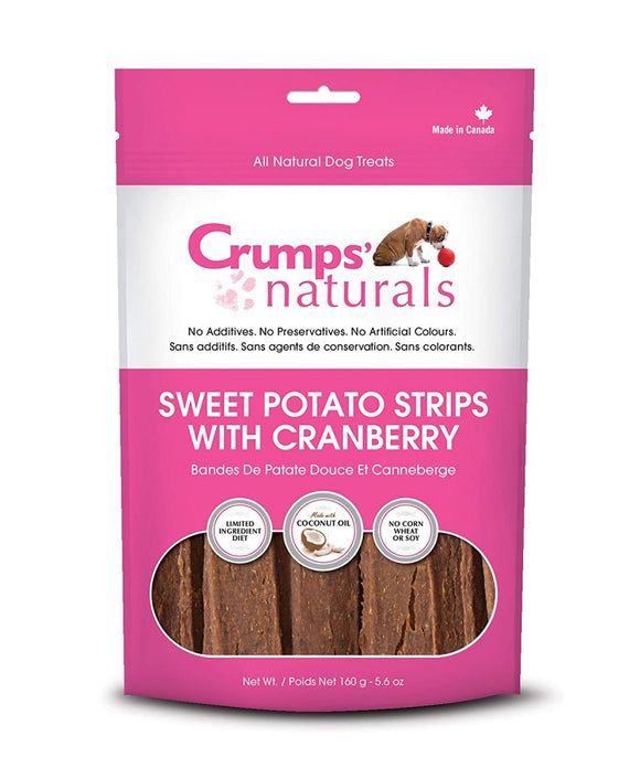 Crumps Naturals Sweet Potato Strips with Cranberry and Citrus Fibre Dog Treats