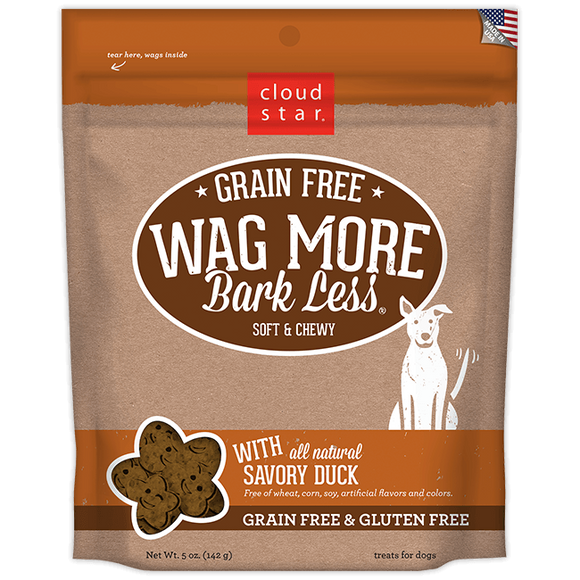 Cloud Star Wag More Bark Less Soft and Chewy Grain Free Savory Duck Dog Treats