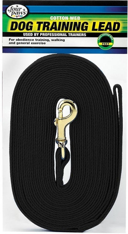 Four Paws Black Cotton Web Dog Training Lead
