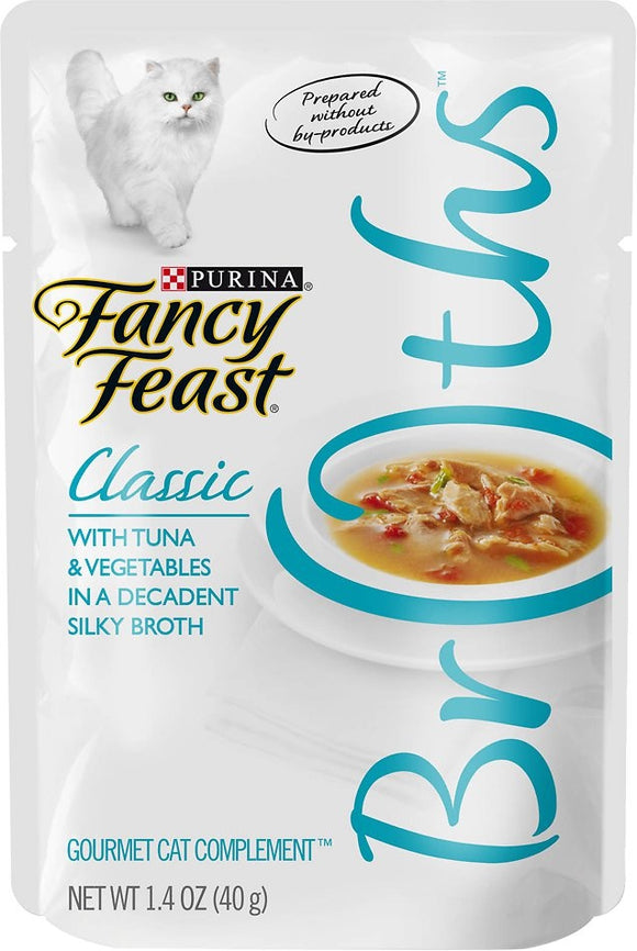 Fancy Feast Classic Broths with Tuna & Vegetables Cat Food Pouches