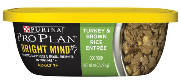 Purina Pro Plan Bright Mind Adult 7+ Turkey and Brown Rice Entree Dog Food Tray