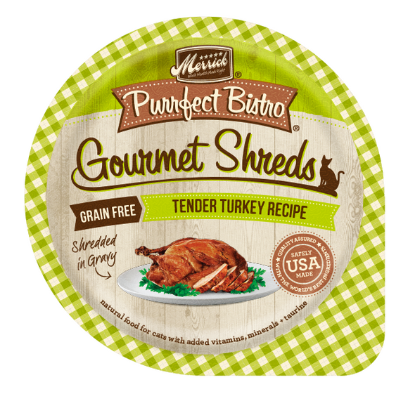 Merrick Purrfect Bistro Gourmet Shreds Grain Free Tender Turkey Recipe Cat Food Tray