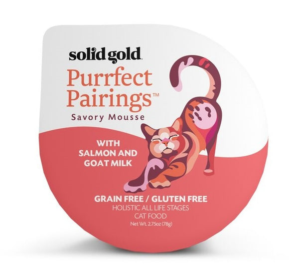 Solid Gold Grain Free Purrfect Pairings Salmon Savory Mousse Cat Food Tray