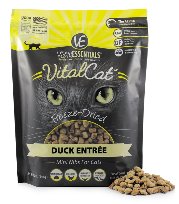 Vital Essentials Freeze Dried Grain Free Duck Mini Nibs Entree for Cats Food