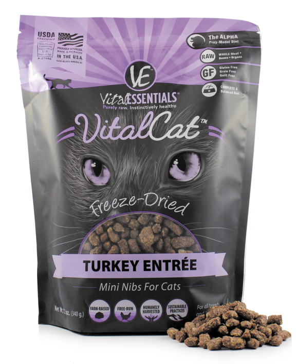 Vital Essentials Freeze Dried Grain Free Turkey Mini Nibs Entree for Cats Food