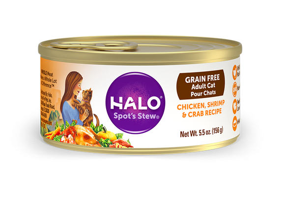 Halo Holistic Grain Free Adult Chicken, Shrimp, and Crab Recipe Canned Cat Food