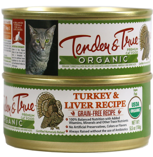 Tender & True Grain Free Organic Turkey and Liver Recipe Canned Cat Food