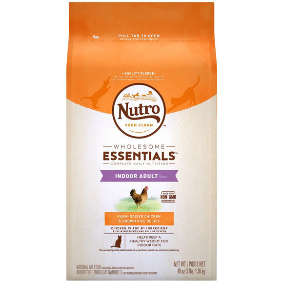 Nutro Wholesome Essentials Indoor Adult Farm Raised Chicken and Brown Rice Dry Cat Food