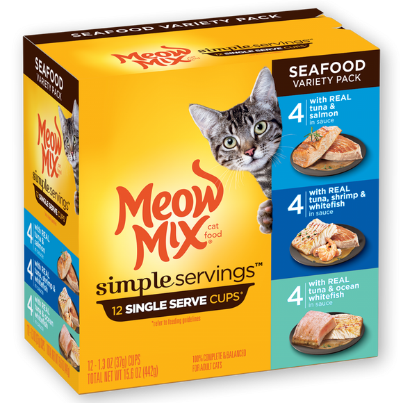 Meow Mix Simple Servings Seafood Variety Pack Wet Cat Food