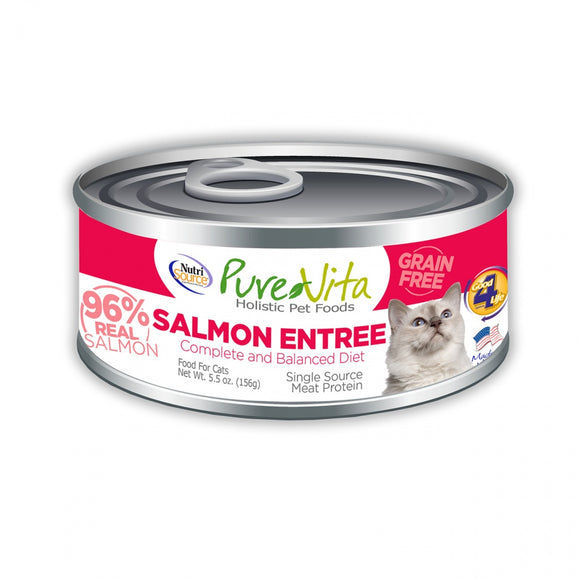 PureVita Grain Free 96% Real Salmon Entree Canned Cat Food