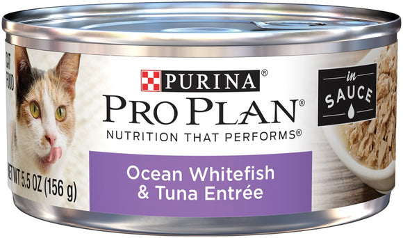 Purina Pro Plan Ocean Whitefish And Tuna Entree in Sauce Canned Cat Food