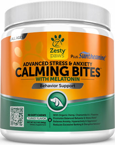 Zesty Paws Advanced Anti Stress & Anxiety Calming with Melatonin & Suntheanine Soft Chews for Dogs
