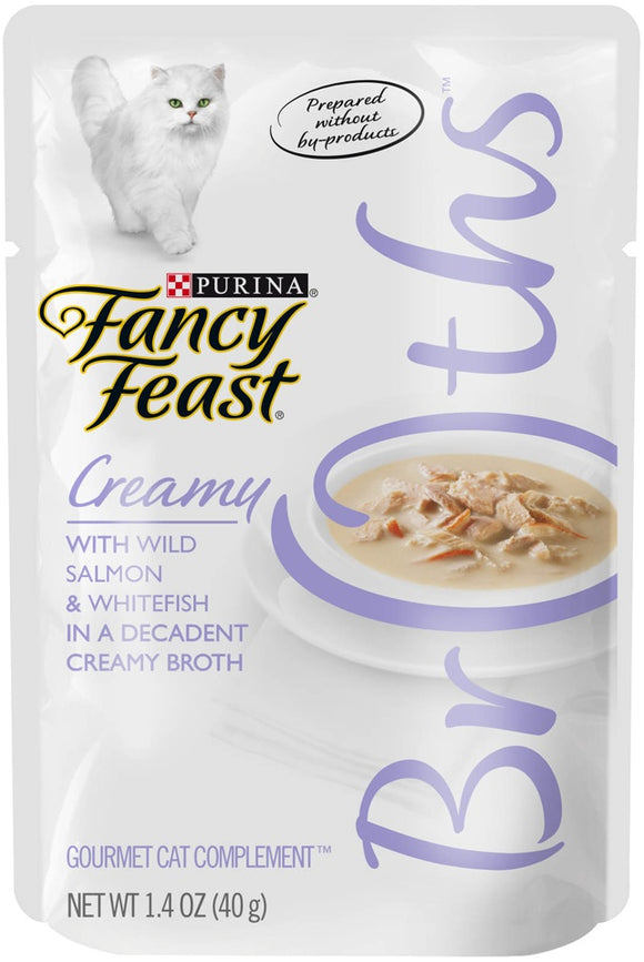 Fancy Feast Creamy Broths With Wild Salmon & Whitefish Supplemental Cat Food Pouches