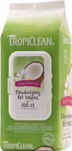 TropiClean Deep Cleaning Deodorizing Wipes for Dogs and Cats
