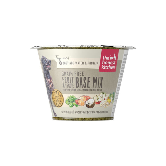 The Honest Kitchen Grain Free Fruit & Veggie Base Mix Dehydrated Dog Food Cups
