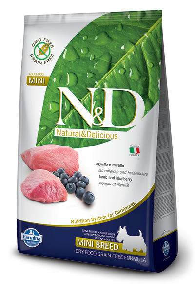 Farmina N&D Natural and Delicious Grain Free Mini Adult Lamb & Blueberry Dry Dog Food