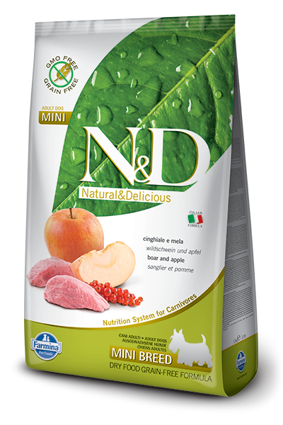 Farmina N&D Natural and Delicious Grain Free Mini Adult Wild Boar & Apple Dry Dog Food