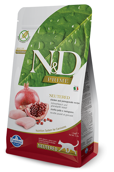 Farmina Prime N&D Natural and Delicious Grain Free Chicken & Pomegranate Neutered Adult Dry Cat Food