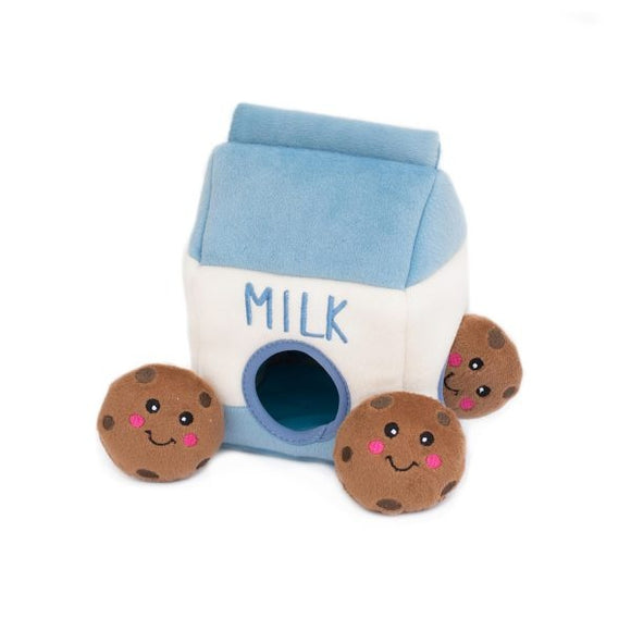 ZippyPaws Zippy Burrow Milk and Cookies Hide and Seek Puzzle Dog Toy