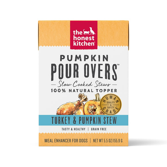 The Honest Kitchen Pour Overs Grain Free Turkey & Pumpkin Stew Recipe Food Topper for Dogs