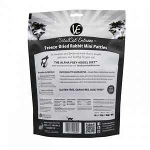 Vital Essentials Freeze Dried Grain Free Rabbit Mini Patties Limited Ingredient Entree for Cats
