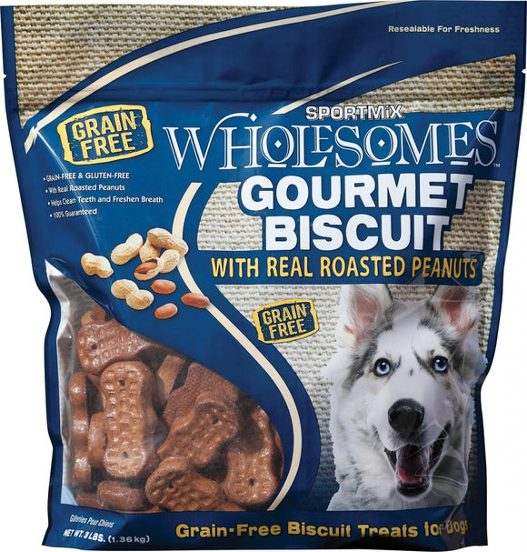 SPORTMiX Wholesomes Gourmet Biscuits with Real Roasted Peanuts Grain Free Dog Treats