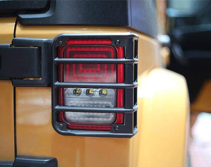 wildparts Exterior Light Covers Rear Euro Black Taillight Guards for Jeep Wrangler JK 07-17