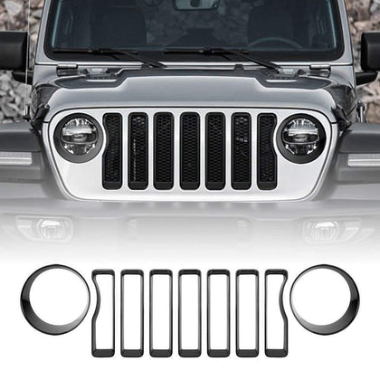 wildparts Grille Parts Black Grille Inserts & Headlight Covers 18 Jeep wrangler JL