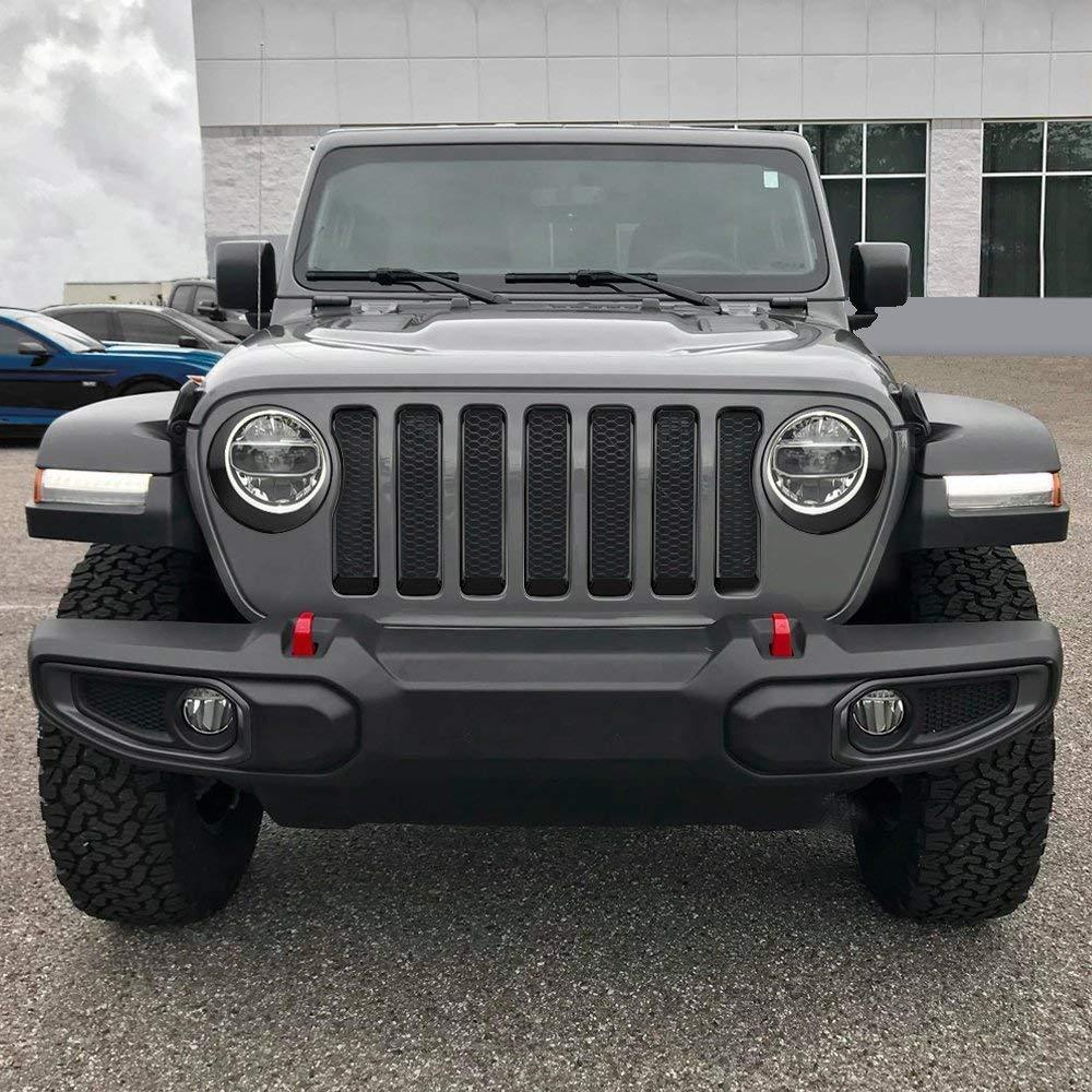 Black Grille Inserts & Headlight Covers 18 Jeep wrangler JL