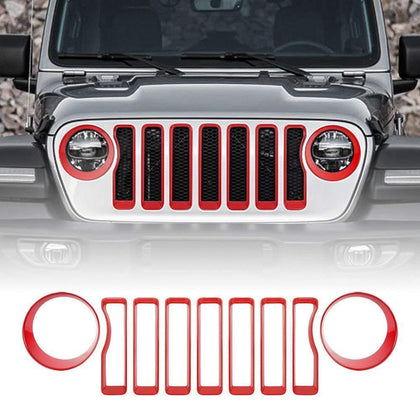 Red Grille Inserts & Headlight Covers 18 Jeep wrangler JL