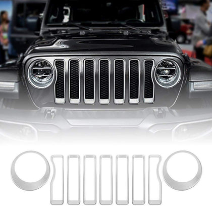 wildparts Grille Parts Silver Grille Inserts & Headlight Covers for 18 Jeep wrangler JL