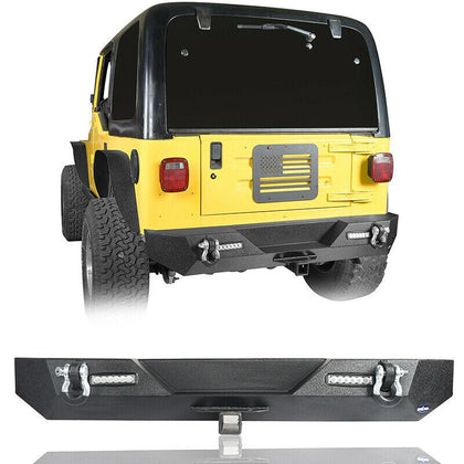 wildrock4x4 Bumpers Black Rear Bumper w/ LED Reversing Lights for Jeep TJ 97-06