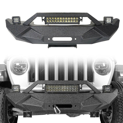 wildrock4x4 Bumpers Front Bumper w/Light Bar for 18-19 Jeep Wrangler JL
