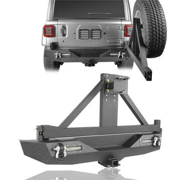wildrock4x4 Bumpers Rear Bumper w/Tire Carrier & LED Floodlights for 18-19 Jeep Wrangler JL