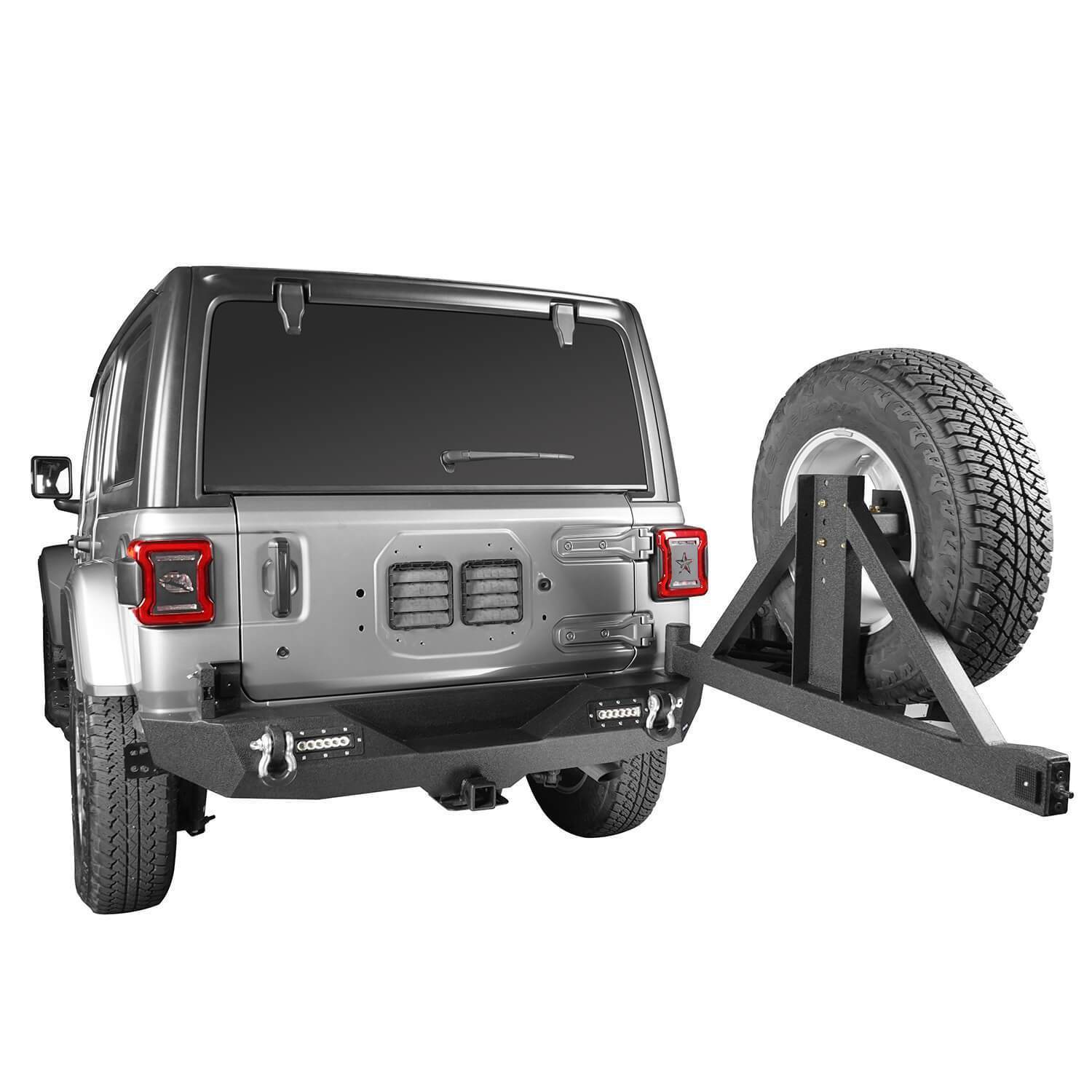 Rear Bumper w/Tire Carrier & LED Floodlights for 18-19 Jeep Wrangler JL