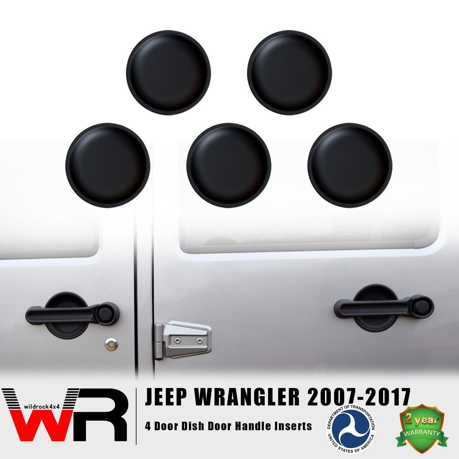 Dish Door Handle Inserts for 4 Door Jeep Wrangler JK 07-17