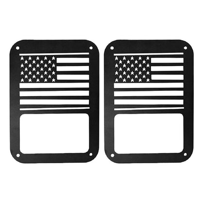 wildrock4x4 Exterior Light Covers USA Flag Taillight Covers for Jeep Wrangler JK 07-17