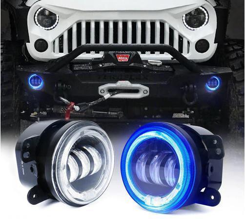 "4"" 60W CREE LED Fog Lights W/ Halo Ring DRL"