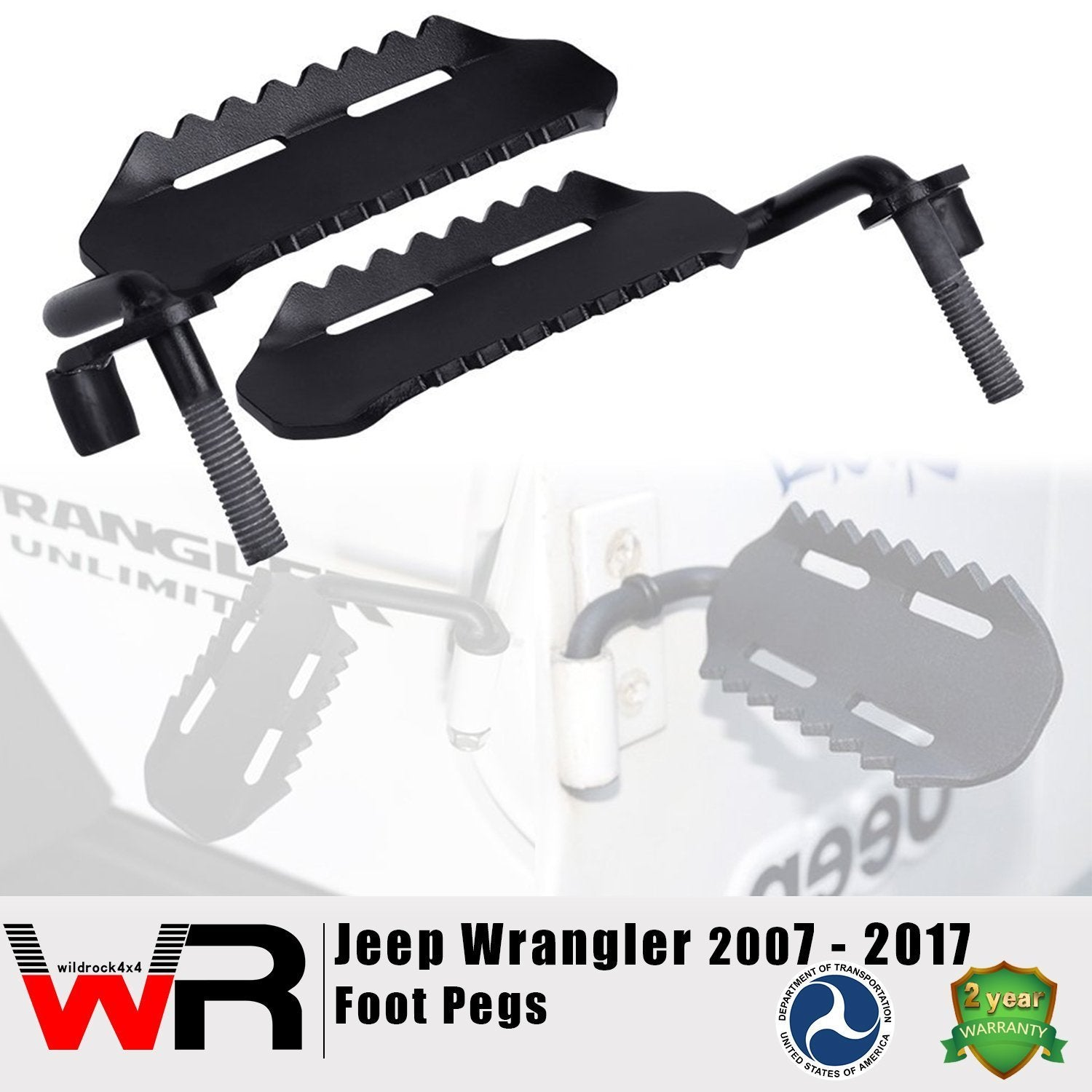 Black Foot Pegs for Jeep Wrangler JK 2007-2017-Pair