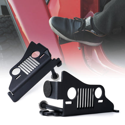 WildRock4x4 Foot Pegs Foot Rest Pegs with Jeep Face for 2018-19 Jeep Wrangler JL