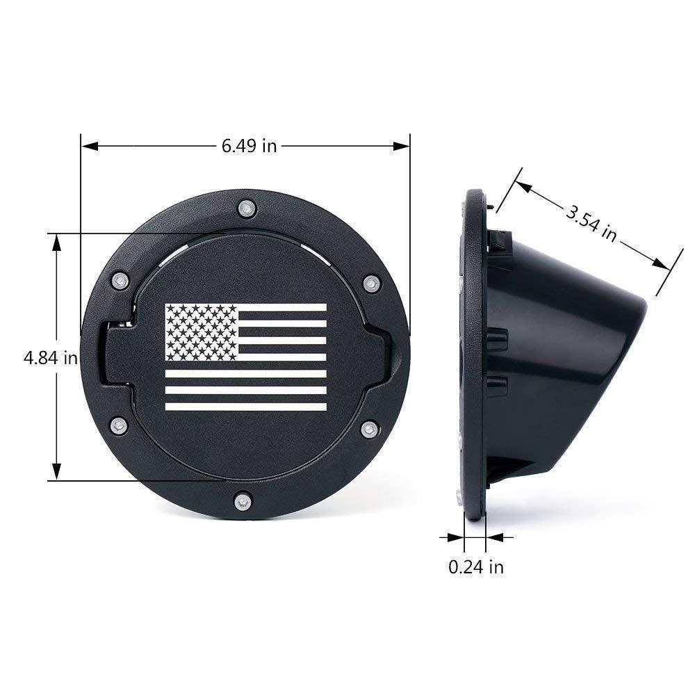 Fuel Filler Door Cover Gas Cap for 07-17 Jeep Wrangler JK