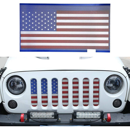 wildrock4x4 Grille Parts American Flag Insert Bug Net for Jeep Wrangler JK 07-2017