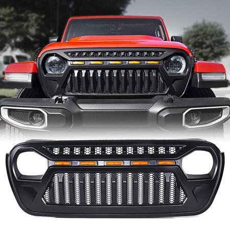 wildrock4x4 Grille Parts Front Grille w/Amber Lights for 18-20 Jeep Wrangler JL & JT Gladiator