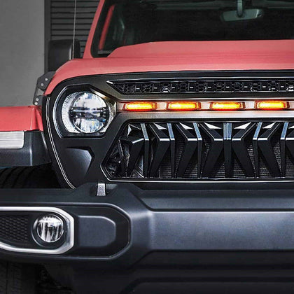 Front Shark Grille w/Amber Lights for 18-20 Jeep Wrangler JL & JT Gladiator