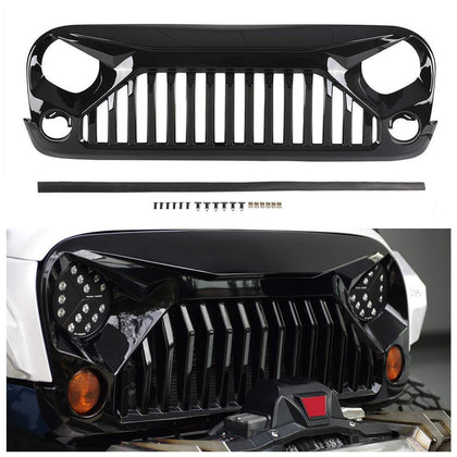 wildrock4x4 Grille Parts Glossy Black Gladiator Grille for Jeep Wrangler JK 07-17