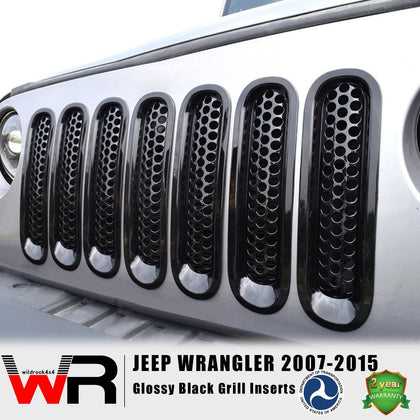 wildrock4x4 Grille Parts Glossy Black Grill Inserts for Jeep Wrangler JK 07-15-7PCS