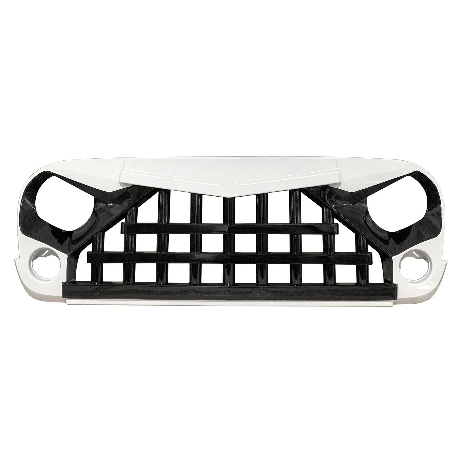 Glossy White&Black Knight Grill For Jeep Wrangler JK 07-18