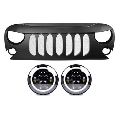 wildrock4x4 Grille Parts Halo Headlights & Beast Grille (07-18 Wrangler JK)